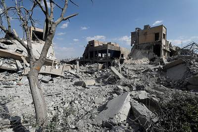 The destroyed Scientific Research Centre is seen in Damascus, Syria on April 14, 2018.