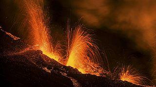 Piton de la Fournaise erupts on Reunion Island