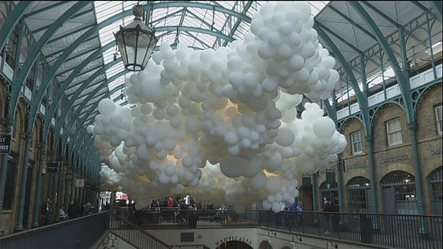 Up, Up and Away in Covent Garden with an exhibition of thousands of balloons