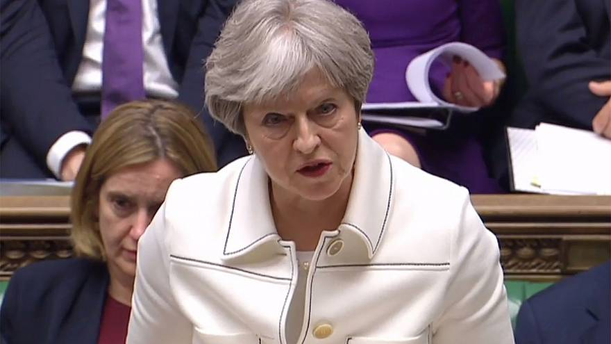 Image: Britain's Prime Minister Theresa May makes a statement in the House