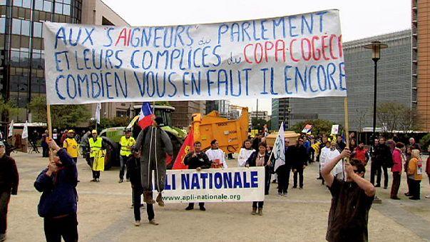 Öfkeli çiftçiler Brüksel'i traktörleri ile felç etti