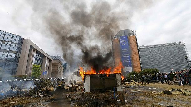 Farmers protest in Brussels