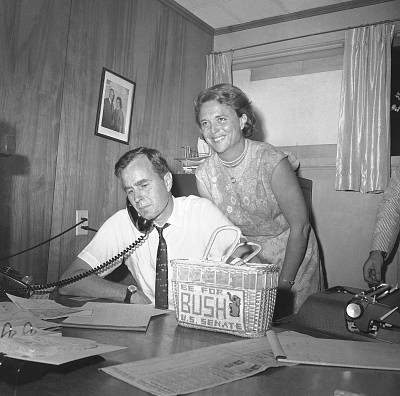 George H.W. Bush, then a Republican candidate for the U.S. Senate, and his wife, Barbara, at his campaign headquarters in Houston in June 1964.