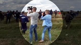 Hungarian camerawoman fired after being filmed kicking migrants