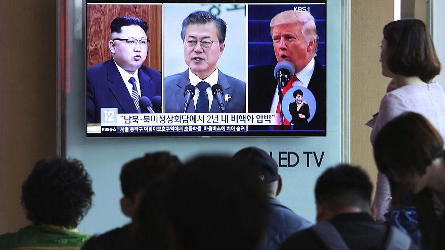 Image: Donald Trump, Kim Jong Un, Moon Jae-in