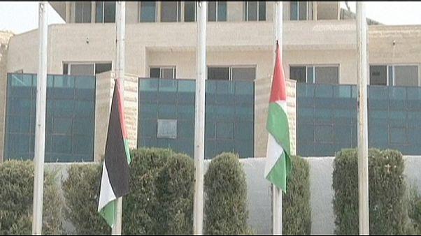 Loboghat palesztin zászló az ENSZ épületén