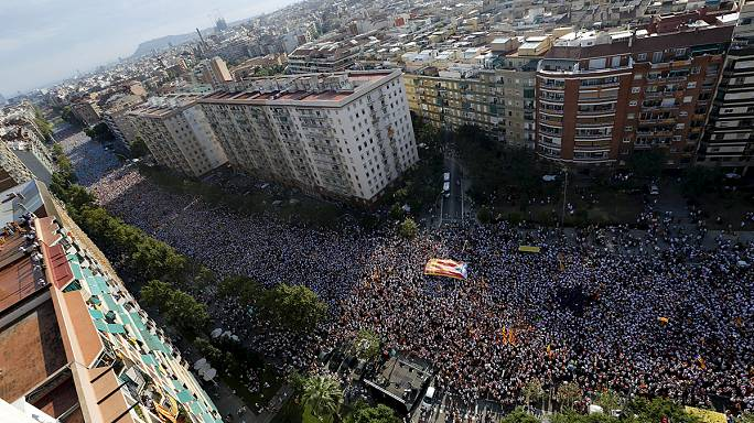 Huge crowds pack Barcelona for Catalonia Day