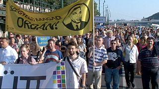 مردم بوداپست علیه سیاستهای ضدمهاجر اوربان تظاهرات کردند