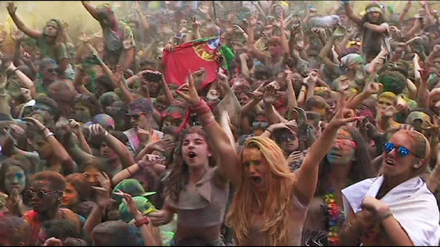 Riotous scenes of colour at Portugal festival
