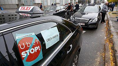 Manifestación contra Uber en Bruselas