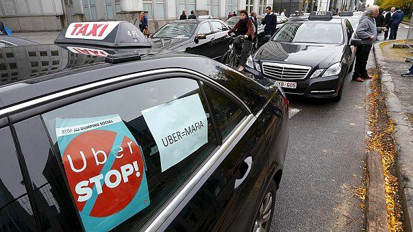 Taxistüntetés Brüsszelben