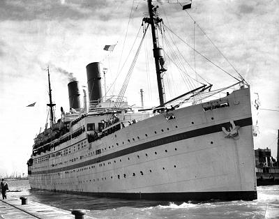 The Empire Windrush in Southampton, England, in 1954.