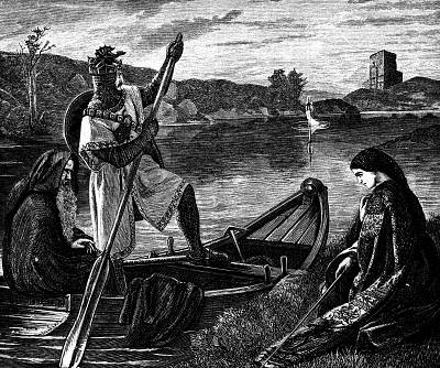 An engraving of King Arthur, the legendary 6th century British king.