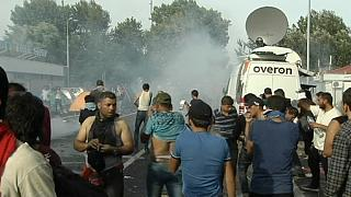 Tear gas claims as refugees stage protest on Hungary-Serbia border