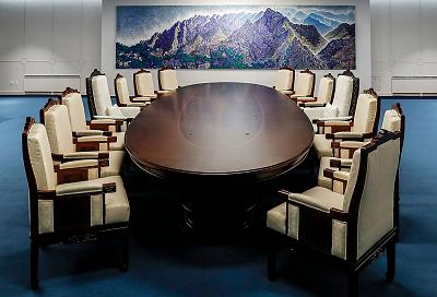 A meeting room that will host this week\'s inter-Korean summit.