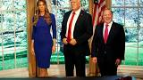 Image: Former White House Press Secretary Sean Spicer poses next to a newly