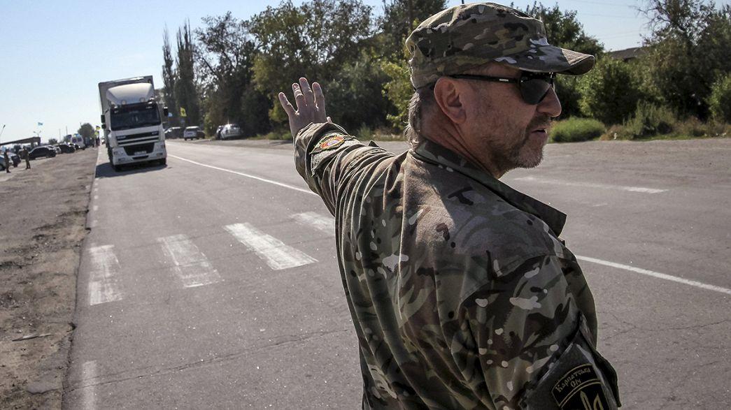 Ukraine: Krimtataren blockieren Warenverkehr zur Krim