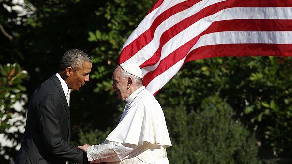 Recibimiento por todo lo alto al papa Francisco en la Casa Blanca