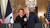 Image: U.S. President Donald Trump and French President Emmanuel Macron hol