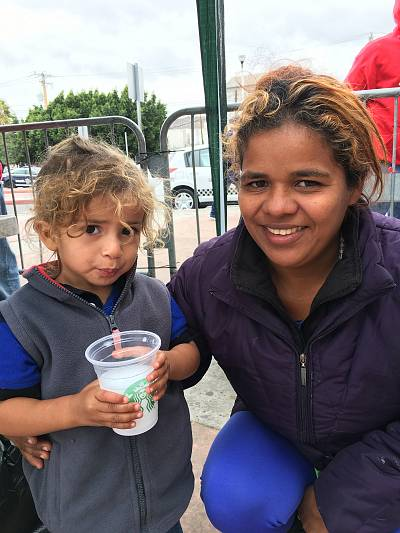 Wendi Garcia and her son, Oscar, migrants in a caravan waiting to seek asylum in the U.S., outside the San Ysidro port of entry.