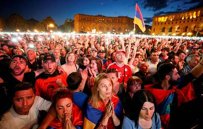 Supporters of Armenian opposition leader Nikol Pashinian gather at a rally in Yerevan on Tuesday.