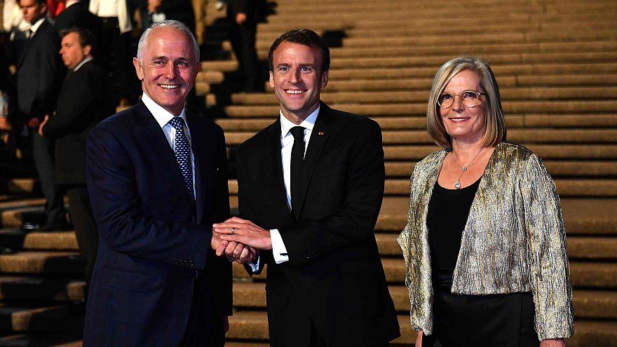 Image: France's President Emmanuel Macron with Australia's Prime Minister M