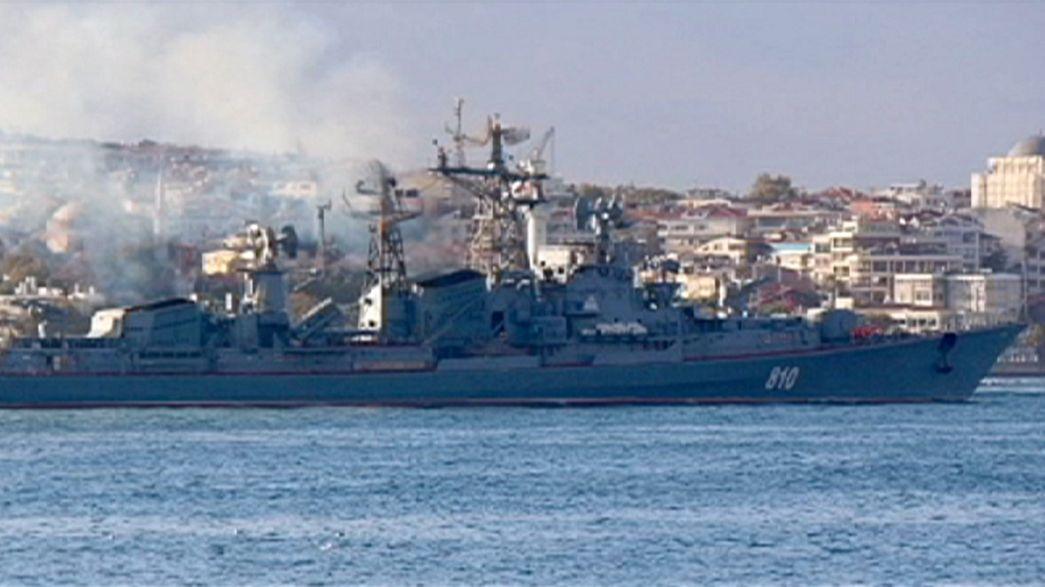 Embouteillages de navires de guerre russes dans le Bosphore