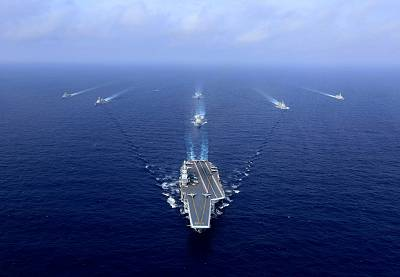 China\'s aircraft carrier, the Liaoning, pictured here in April, carried out drills on Monday.