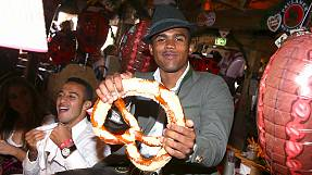 The Bayern Munich team celebrates Oktoberfest