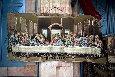 A carpet showing the Last Supper on sale in Jerusalem\'s Old City.