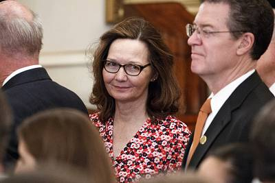 Gina Haspel, President Donald Trump\'s nominee to head the CIA, at the swearing-in ceremony for Secretary of State Mike Pompeo in Washington on May 2.