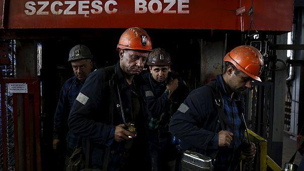 Los mineros polacos del carbón, en huelga