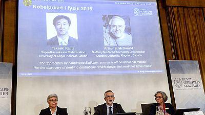 Nobel: neutrinos pair win 2015 Nobel physics prize
