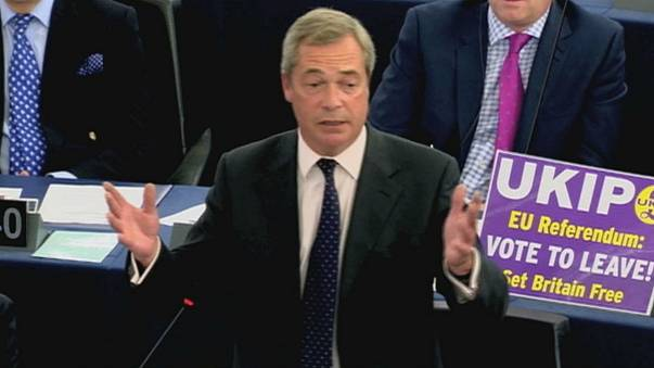 Britain's anti-EU leader Farage slams Merkel-Hollande parliament address