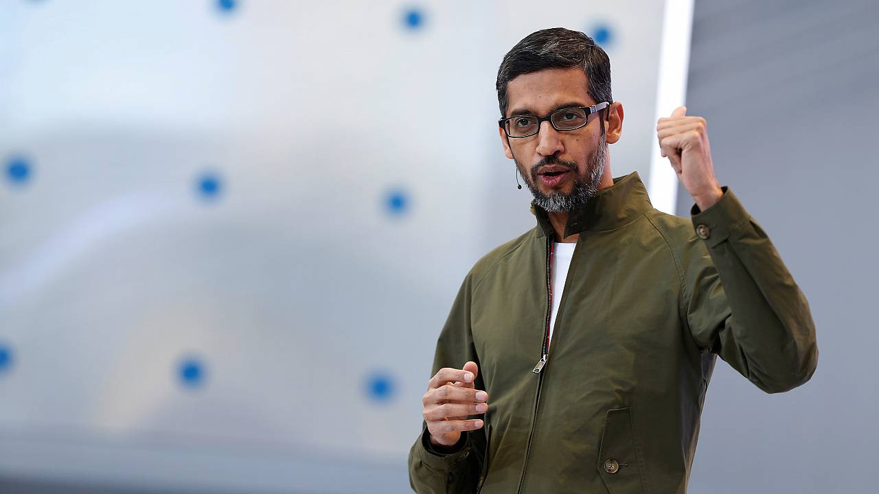 Image: Google CEO Sundar Pichai speaks during the annual Google I/O develop