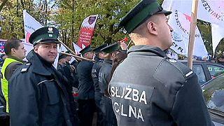 Manifestación de empleados públicos en Polonia
