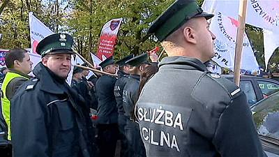 Protests outside the Polish Parliament