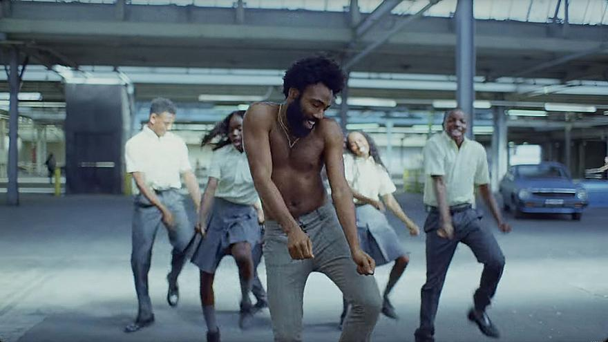 "Image: A scene from Childish Gambino's ""This is America"" music video."