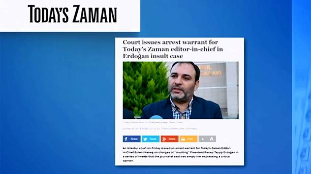 """Turkish newspaper editor arrested over tweets """"insulting"""" president"""