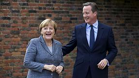 Cameron holds low-profile talks with Merkel