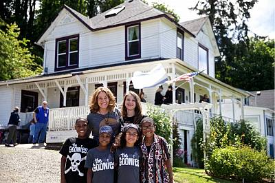 Devonte Hart with his family at an annual celebration of the movie \'The Goonies\' in Astoria, Oregon, in 2014.