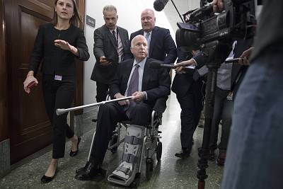 Sen. John McCain, R-Ariz., after an Armed Services Committee hearing in November.