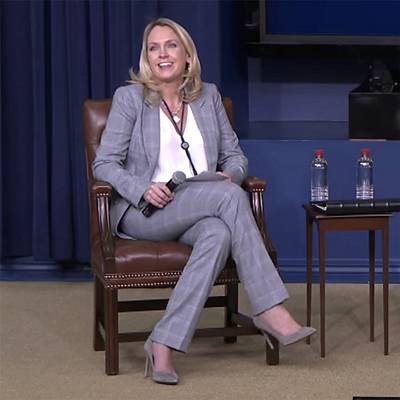 Kelly Sadler moderates a Generation Next panel at the White House on March 22.