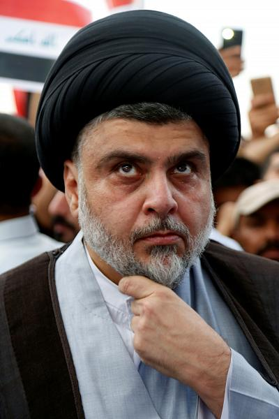 Shiite cleric Muqtada al-Sadr attends a demonstration in Najaf, Iraq, on April 15.