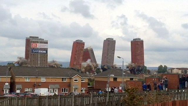 İskoçya'da 'çirkin' binalar kontrollü patlamaya direndi