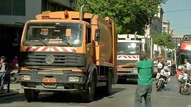عمال النظافة يحتجون في أثينا ضد إصلاح نظام التقاعد