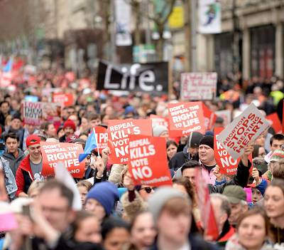 People march through Dublin to campaign for the Eighth Amendment to be retained on March 10.
