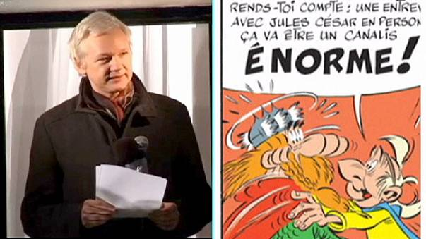 """Esce il nuovo Astérix. Assange nei panni del """"giornalista"""" gallico"""
