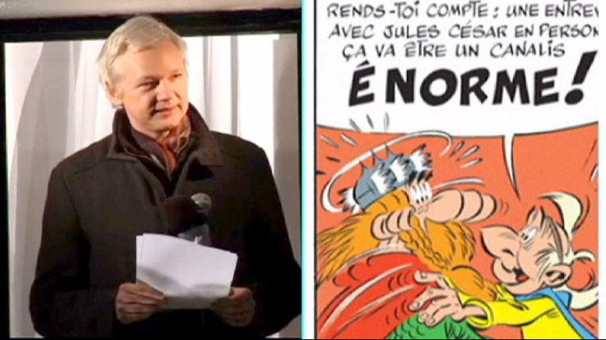 Julian Assange, convertido en irreductible galo junto a Asterix y Obelix
