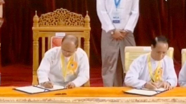 "Myanmar's president hails ceasefire deal with rebels as ""historic"""